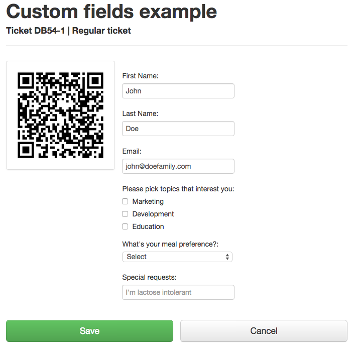 Ticket with custom registration fields