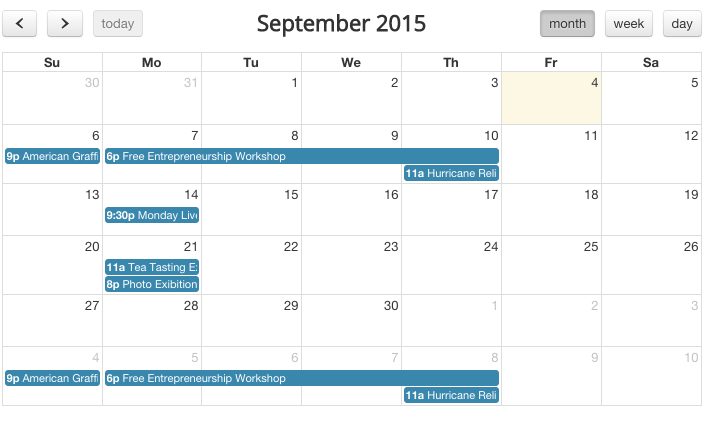 Calendar view of events