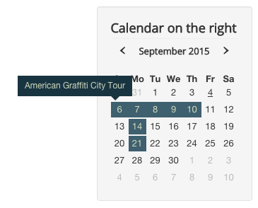 Calendar module with hints expanding to left